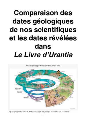 Comparaison des dates géologiques de nos scientifiques et les dates révélées dans Le Livre d'Urantia