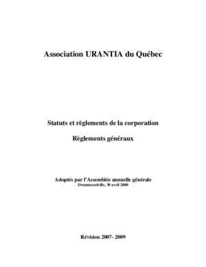 La Charte et les règlements de l'Association Urantia du Québec.