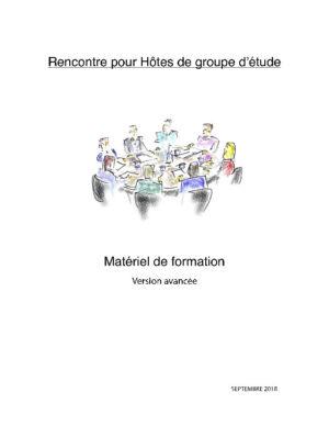 Matériel de formation avancée pour groupes d'étude